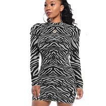 Серое модное облегающее платье с круглым воротом и нерегулярными полосками WY6617
