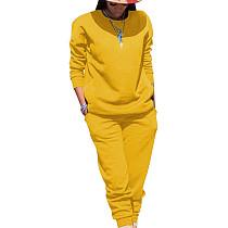 Gele sport effen kleur comfortabele sets Eenvoudige T-shirt skinny broek TRS991