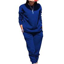 Blauwe sport effen kleur comfortabele sets Eenvoudige T-shirt skinny broek TRS991