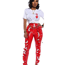 Red All-Match Women High Waist Pu Leather Ruffle Bodycon Pants TRS993