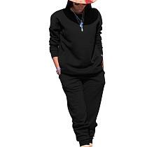 Zwarte sport effen kleur comfortabele sets Eenvoudige T-shirt skinny broek TRS991