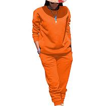 Oranje Sport effen kleur comfortabele sets Eenvoudige T-shirt skinny broek TRS991