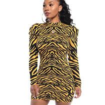Коричневое модное облегающее платье с круглым воротом и нерегулярными полосками WY6617