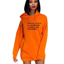 Orange Wholesale Price 3 Colors Ladies Casual Letters Hoodie Dress YMT6120