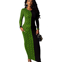 Green Wholesale Price Ladies Printed Splicing Ankle Length Dress YMT6118