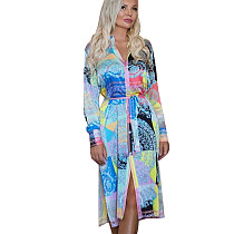 Casual Multicolor Printing Long Sleeve Women Shirt Dress With Belt YZ1962