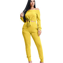 Yellow Strapless Tied Top Elastic Waist Pants Pure Color Leisure Outfits KSN5095