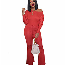 Red Casual Polyester Flat Shoulder Solid Color Flared Jumpsuit E8463