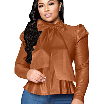 Brown Wholesale Bodycon Solid Color Leather Top With Bowknot ZH5152