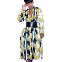 Autumn Winter Multicolor Printing Single-Breasted Ladies Dress FA7057