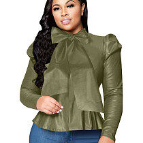Blackish Green Wholesale Bodycon Solid Color Leather Top With Bowknot ZH5152