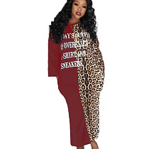 Wine Red Casual Letters Patchwork Leopard Print Split Long Dress TK6046