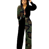 Green Fashion Printed Patchwork Women Long Jumpsuit For Wholesale LMM8092