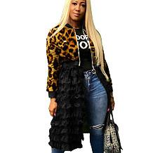 Leopard Print Winter Zipper Irregular Mesh Splicing Women Jacket MR225