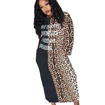 Black Casual Letters Patchwork Leopard Print Split Long Dress TK6046