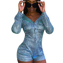 Glitter Button Down Cargo Pants Fashion Sequin Short Jumpsuit NK075