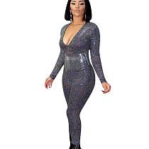 Bling Bling Sequins V Collar Slim Fitting Jumpsuit For Women NK072