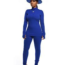 As mulheres confortáveis azuis da cor lisa do inverno do outono de Bodycon ajustam CM632