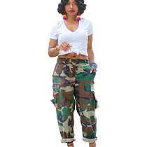Sports Loose Cargo Pants Camouflage Straight Trousers With Pockets SMR2109