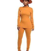 As mulheres confortáveis amarelas da cor lisa do inverno do outono de Bodycon ajustam CM632