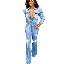 Leisure Ripped Light Blue Jeans Acid Washes High Waist Flares Pants SMR2118