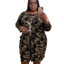 بالإضافة إلى حجم النساء جيوب التمويه جولة الياقة اللباس ميدي QQ5149