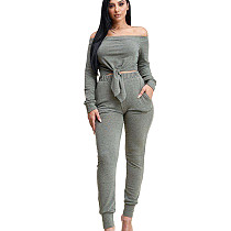 Gray Strapless Tied Top Elastic Waist Pants Pure Color Leisure Outfits KSN5095