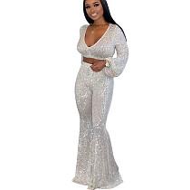 Sequins Hot Suits Bubble Sleeve V Neck Crop Top Wide Leg Pants SN3720