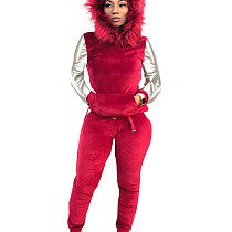 Red Women's Plush Hooded Sweater Trousers Two-Piece Casual Suits X9081
