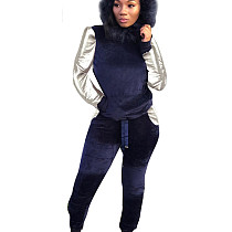 Navy Blue Women's Plush Hooded Sweater Trousers Two-Piece Casual Suits X9081