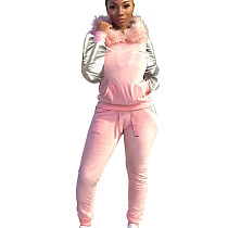 Pink Women's Plush Hooded Sweater Trousers Two-Piece Casual Suits X9081