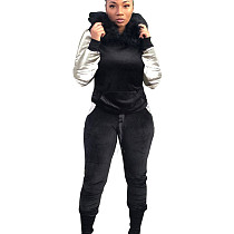 Black Women's Plush Hooded Sweater Trousers Two-Piece Casual Suits X9081