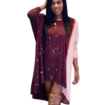 Loose Fitting Leisure Printing Round Neck Irregular Dress YX9070