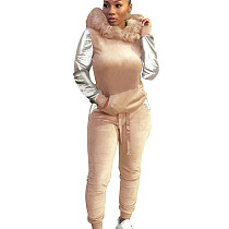 Khaki Women's Plush Hooded Sweater Trousers Two-Piece Casual Suits X9081
