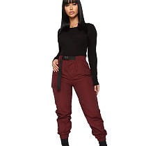 Wine Red Hot Sell Solid Color Leisure Elastic Waist Cargo Pants With Belt SN3721