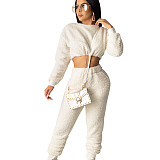 White Trendy Women Autumn Winter Elastic Waist Pants Suits SDD9208