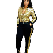 Gold Women Casual Sequin Patchwork 2 Pieces Fashion Outfits Q398