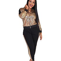 Rose Gold Women Casual Sequin Patchwork 2 Pieces Fashion Outfits Q398