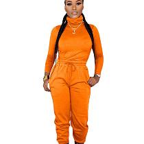 Orange High Neck Top Elastic Waist Pants Plain Color Cheap Sets ED8160