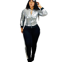 Silver Women Casual Sequin Patchwork 2 Pieces Fashion Outfits Q398