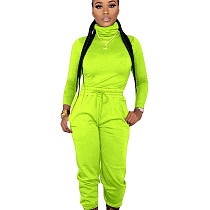 Fluorescent Green High Neck Top Elastic Waist Pants Plain Color Cheap Sets ED8160