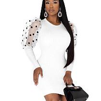 White Cheap Polka Dot Mesh Sleeve Splicing Elegant Pencil Dress QQM3900