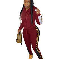 Wine Red Wholesale Leopard Printed Patchwork Hooded Jogging Set ARM8149