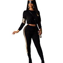Black Fashionable Elastic Waist Sequined Splicing Gym Pants Sets R6254
