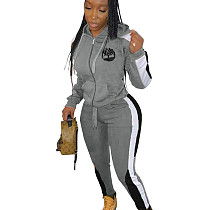 Gray Winter Slim Color Splicing Plus Size Hooded Tracksuits ARM8148
