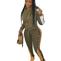 Army Green Wholesale Leopard Printed Patchwork Hooded Jogging Set ARM8149