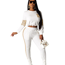 White Fashionable Elastic Waist Sequined Splicing Gym Pants Sets R6254