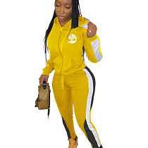 Yellow Winter Slim Color Splicing Plus Size Hooded Tracksuits ARM8148