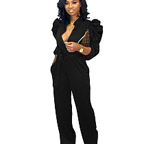 Black Women Ruffle Belted Long Sleeve Wide Leg Jumpsuit YT3192