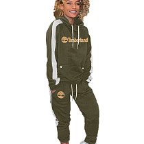 Army Green Long Sleeve Hooded T Shirt Elastic Waist Pants Fashion Tracksuits HG5298